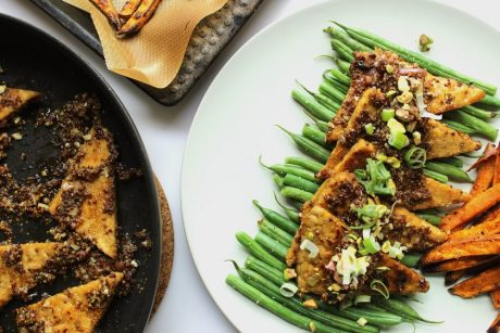 Maple and Mustard Glazed Tempeh With Crunchy Pistachios and Scallions [Vegan]