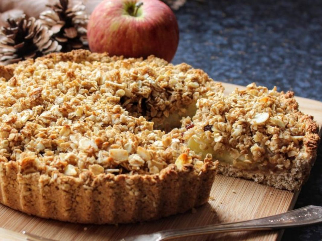 No-Bake Spiced Apple Crumble and Peanut Butter Tart