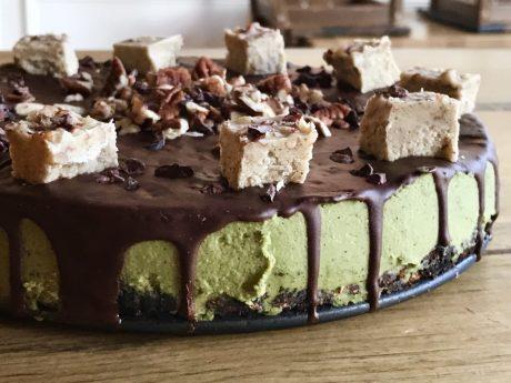 Matcha Cheesecake With Chocolate Ganache