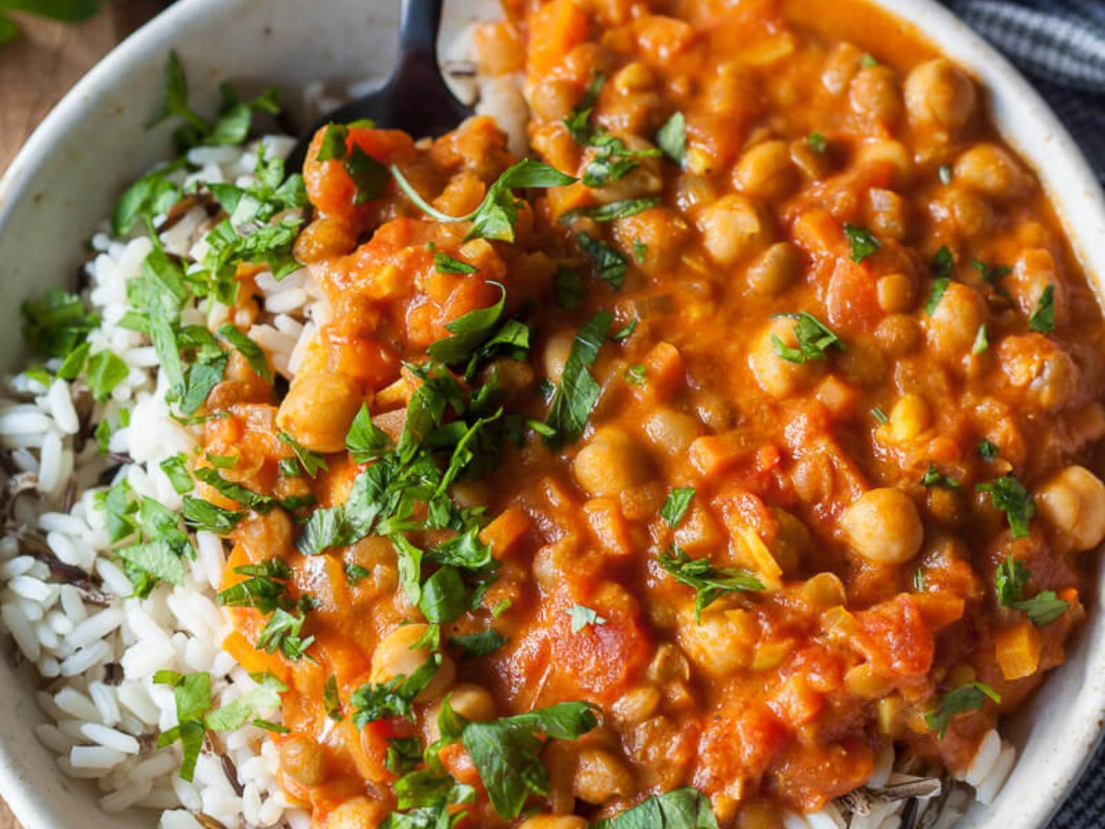 Vegan chickpea lentil coconut curry