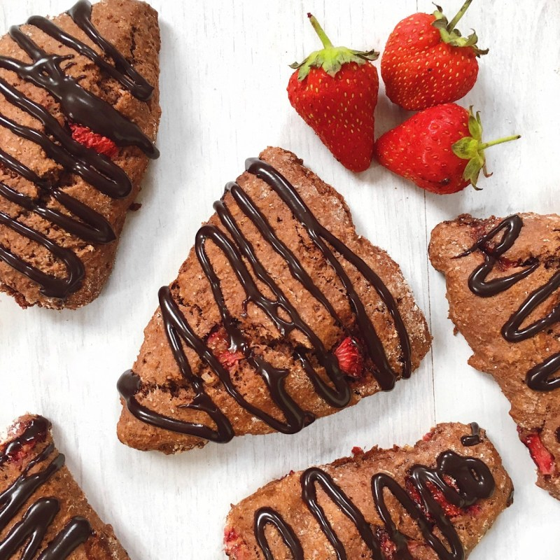 chocolate and strawberry vegan scones