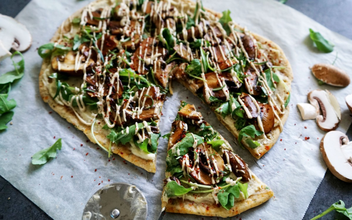 Mushroom and Cream Cheese Flatbread