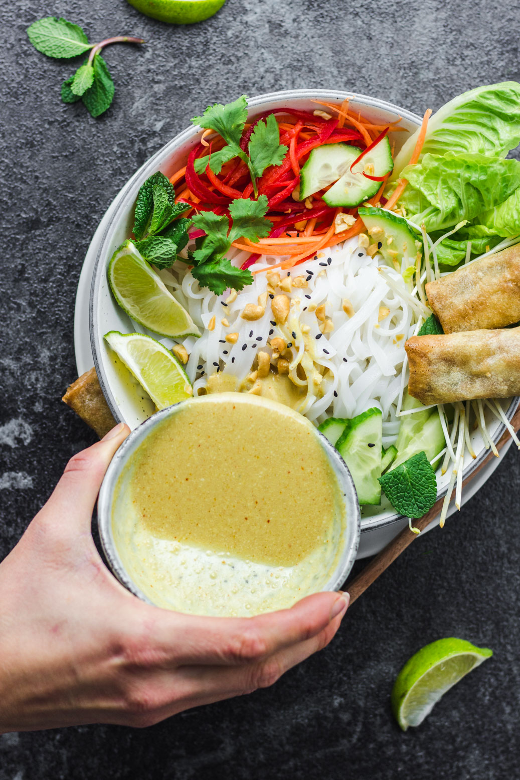 Asian Noodle Bowl with Yellow Curry Sauce