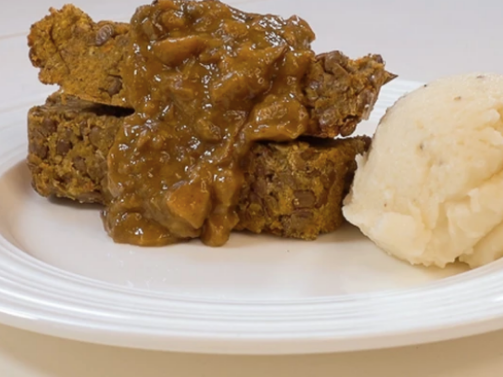 Lentil Loaf and Mushroom Gravy With Mashed Garlic Cauliflower