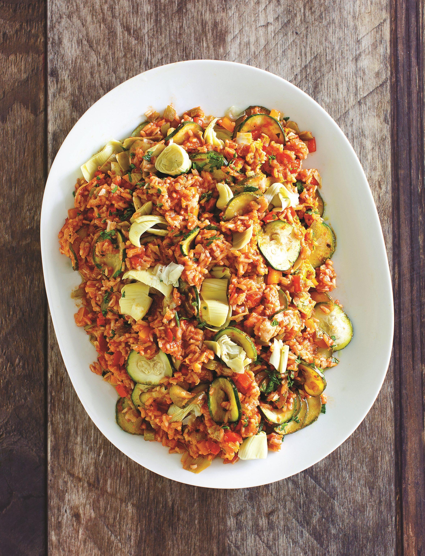 Spanish artichoke and zucchini vegan paella