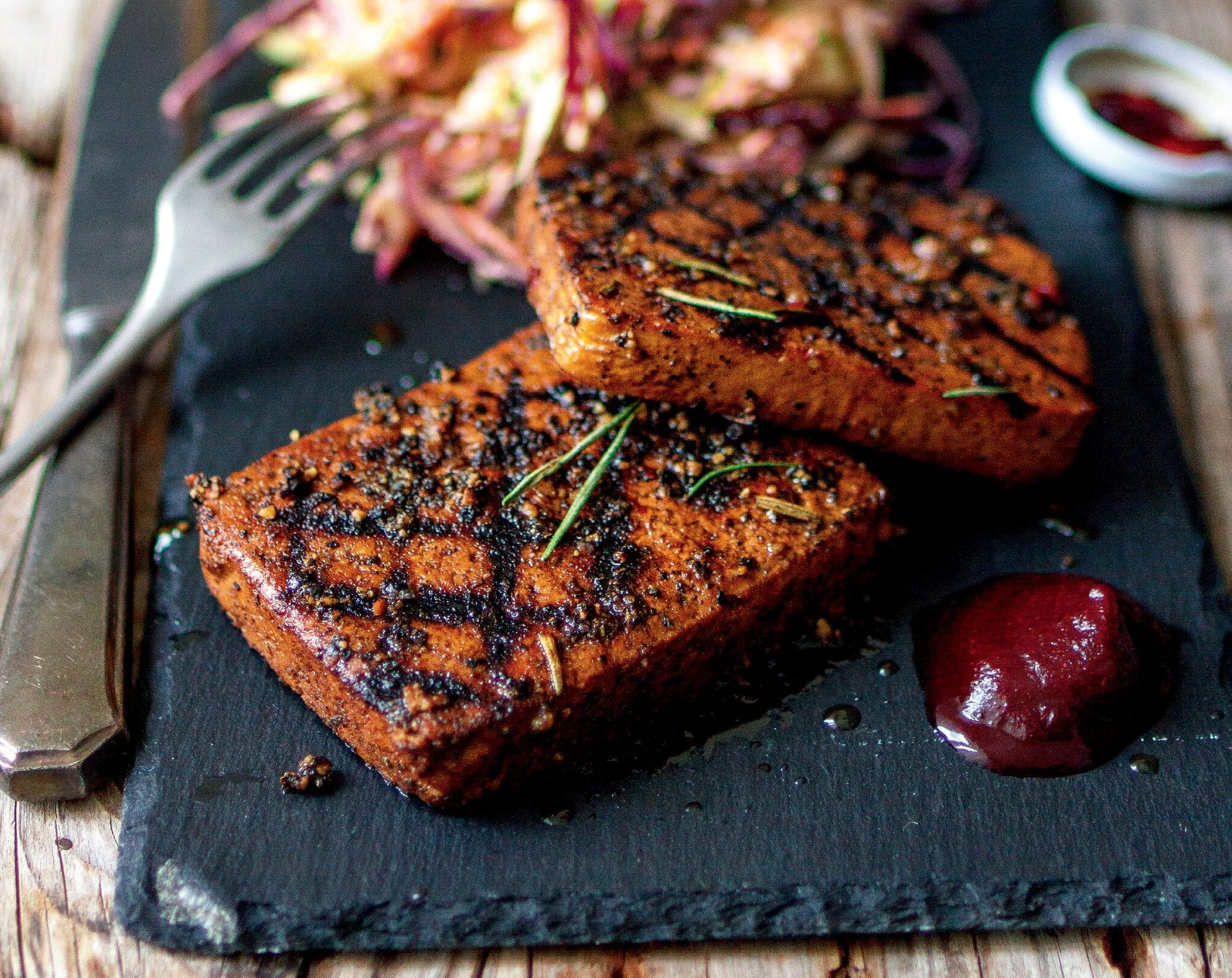 High-protein peppered tofu steaks