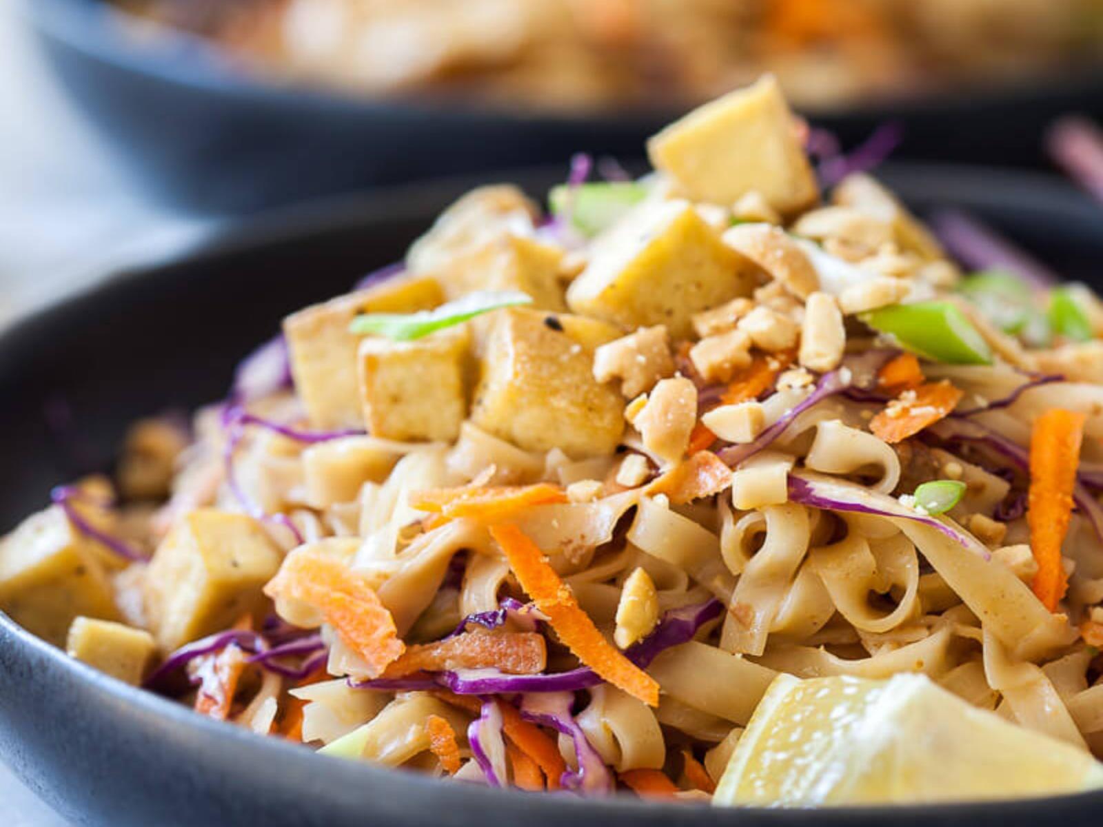 Pad Thai with Tofu in Peanut Sauce