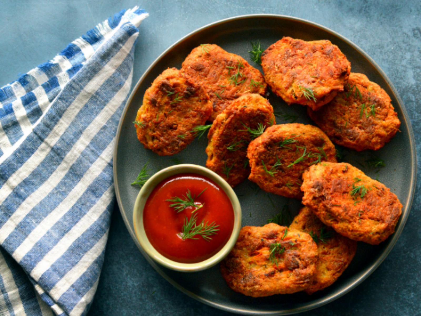 Crispy high-protein red lentil nuggets