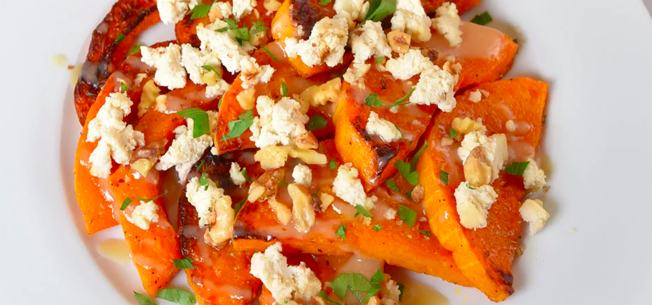 Vegan Roasted Butternut Squash with Tahini and Almond Feta