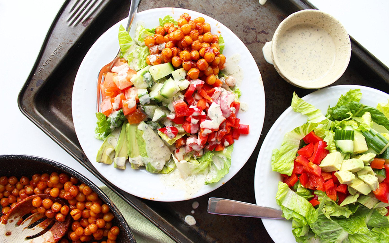 Barbecue Chickpea Salad With Dairy-Free Ranch Dressing