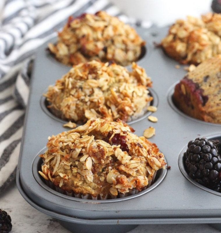 Blackberry Muffins With Coconut Oatmeal Streusel