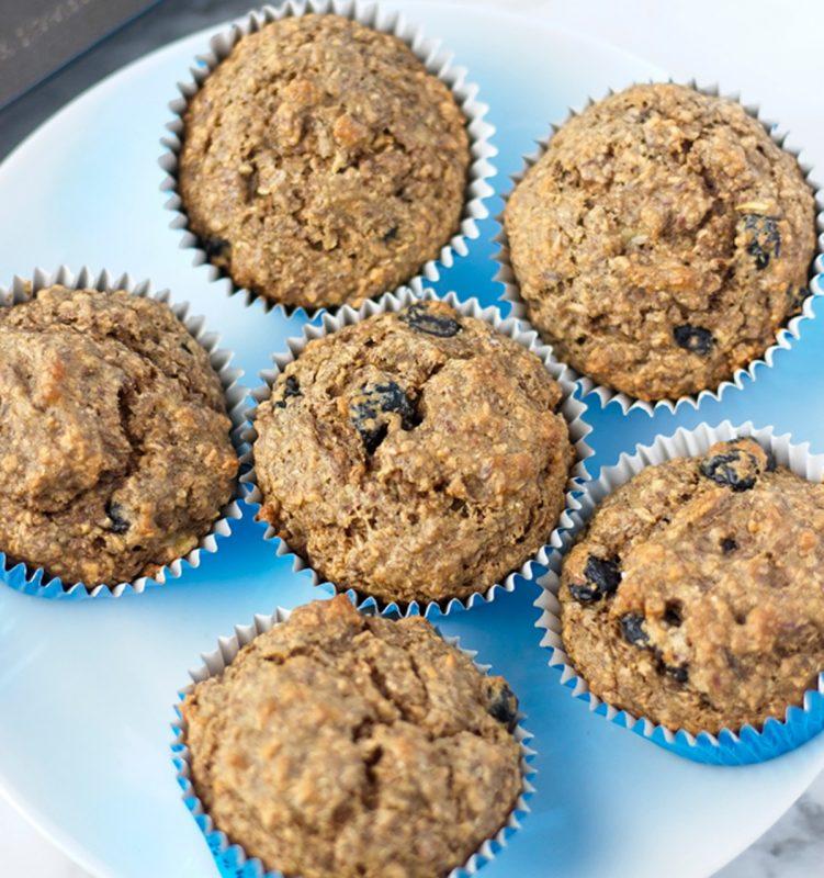 Vegan Blueberry Banana Bran Muffins