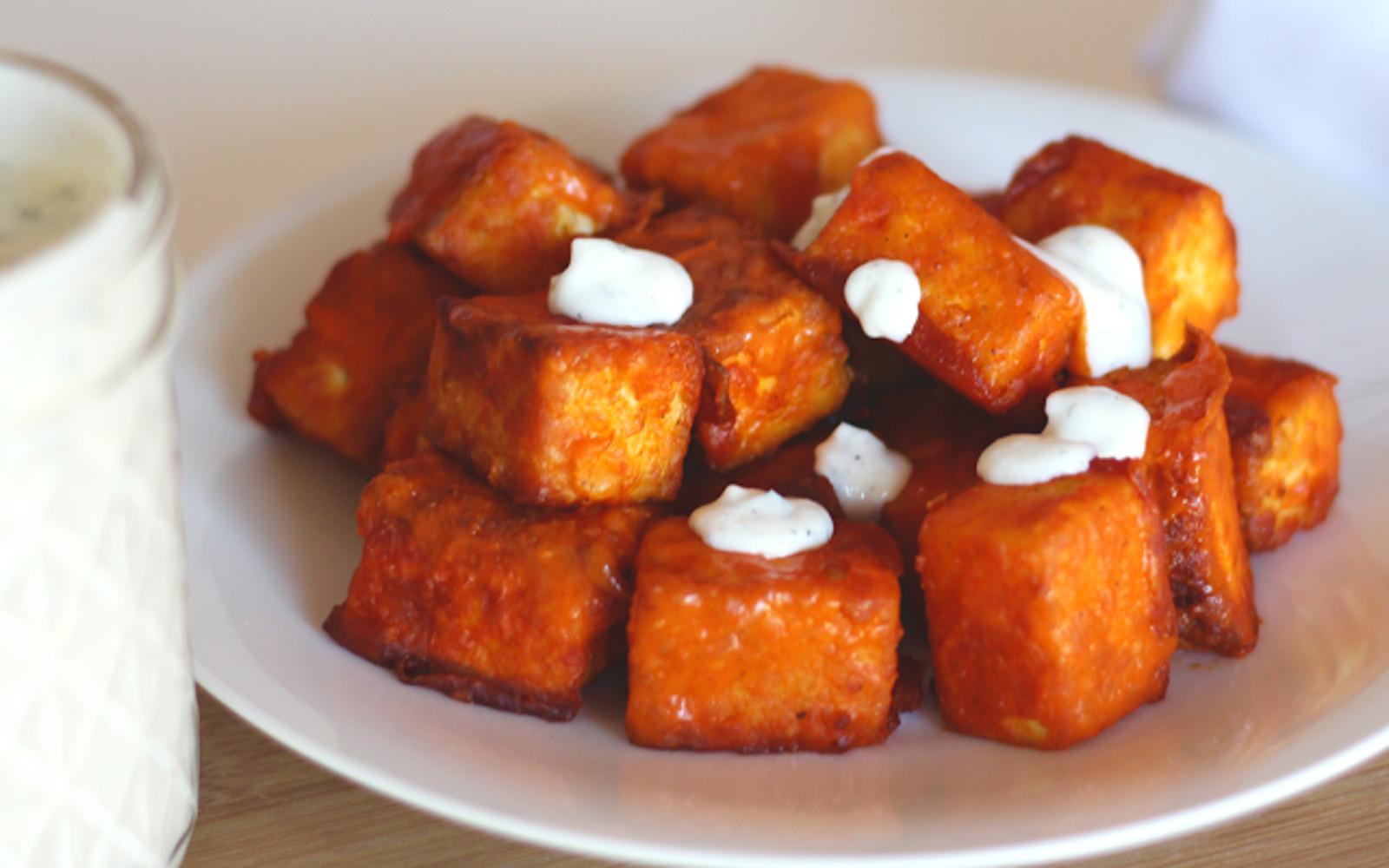 Buffalo Tofu Bites With Dairy-Free Ranch