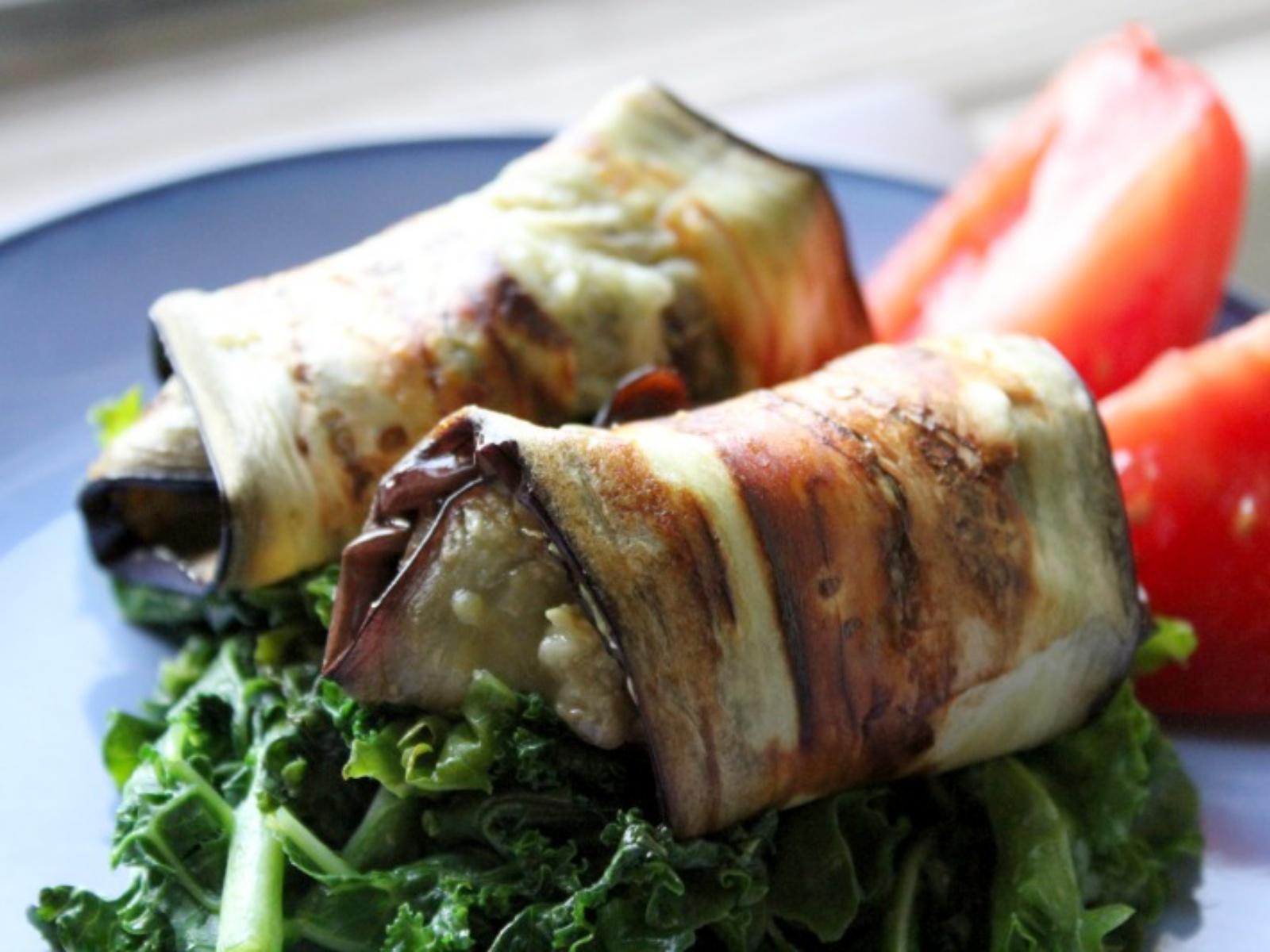 Vegan Eggplant Roll Ups with Hemp Basil Pesto