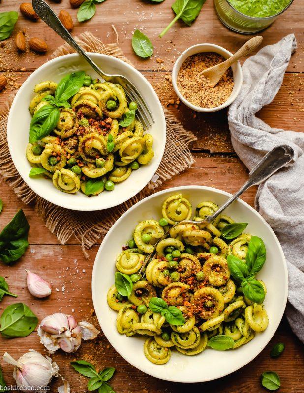 Spinach Pesto Pasta with Almond Parmesan