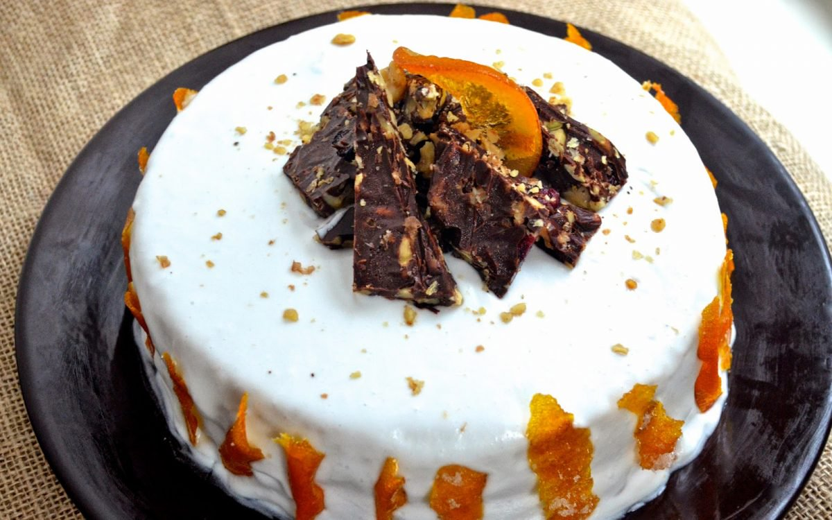 Orange Creamsicle Cake With Candied Orange Peel