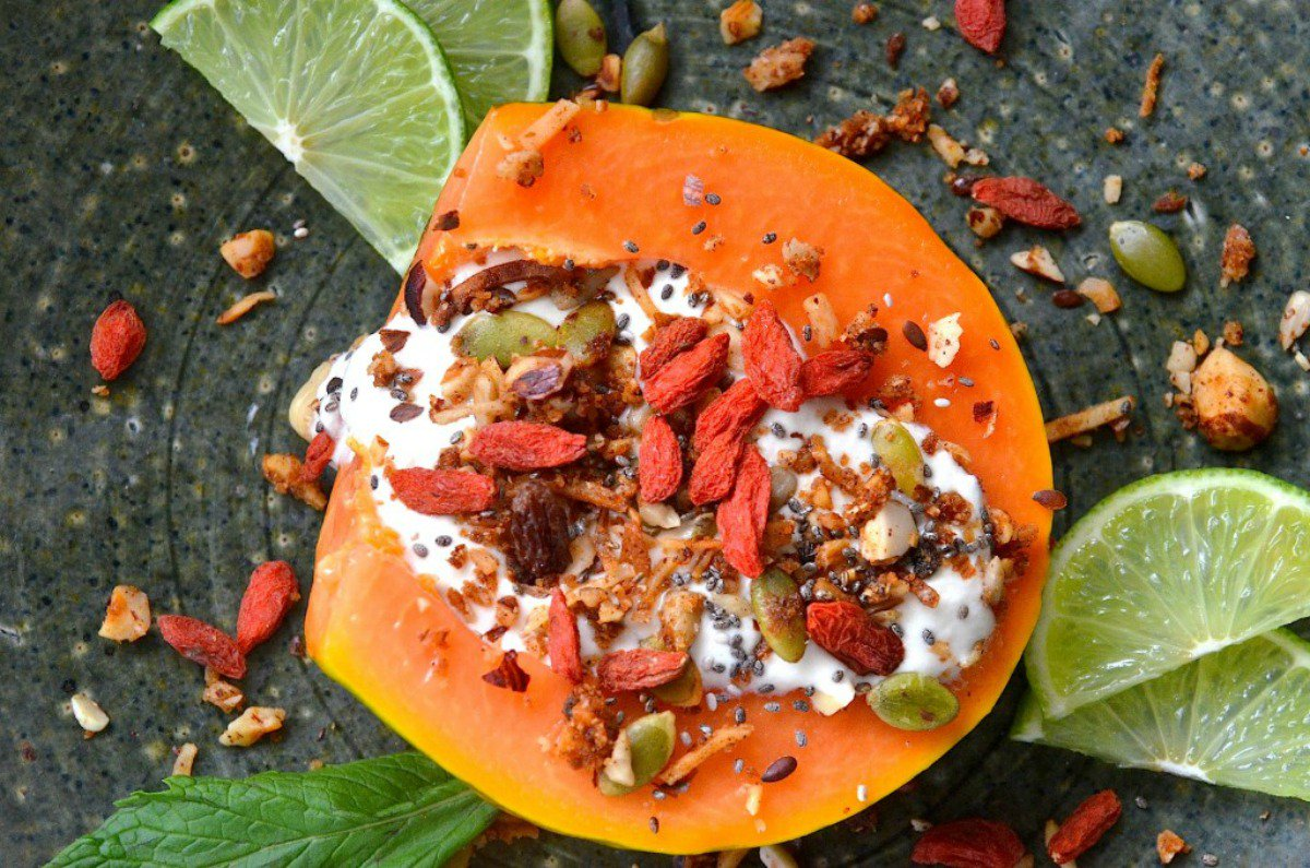 Papaya and Coconut Yogurt Breakfast