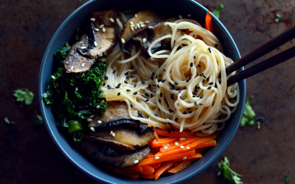 Vegan ramen with sesame and portobello