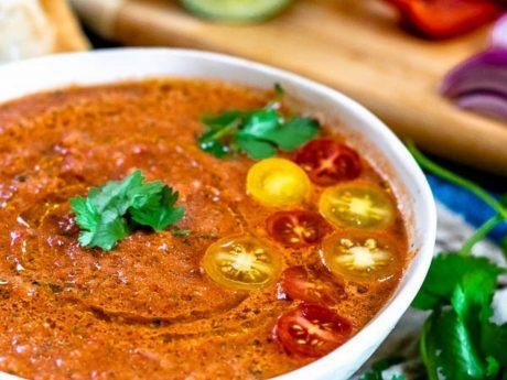 vegan gluten-free 4 vegetable summer gazpacho