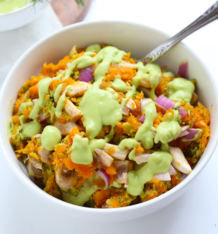 Sweet Potato Mash With Dill Avocado Sauce