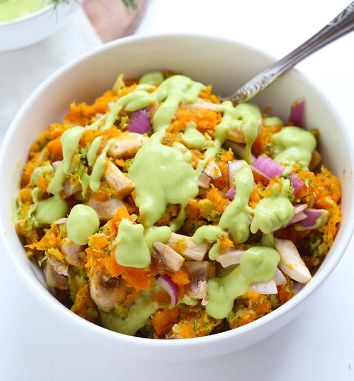 Vegan sweet potato mash with dill avocado dressing
