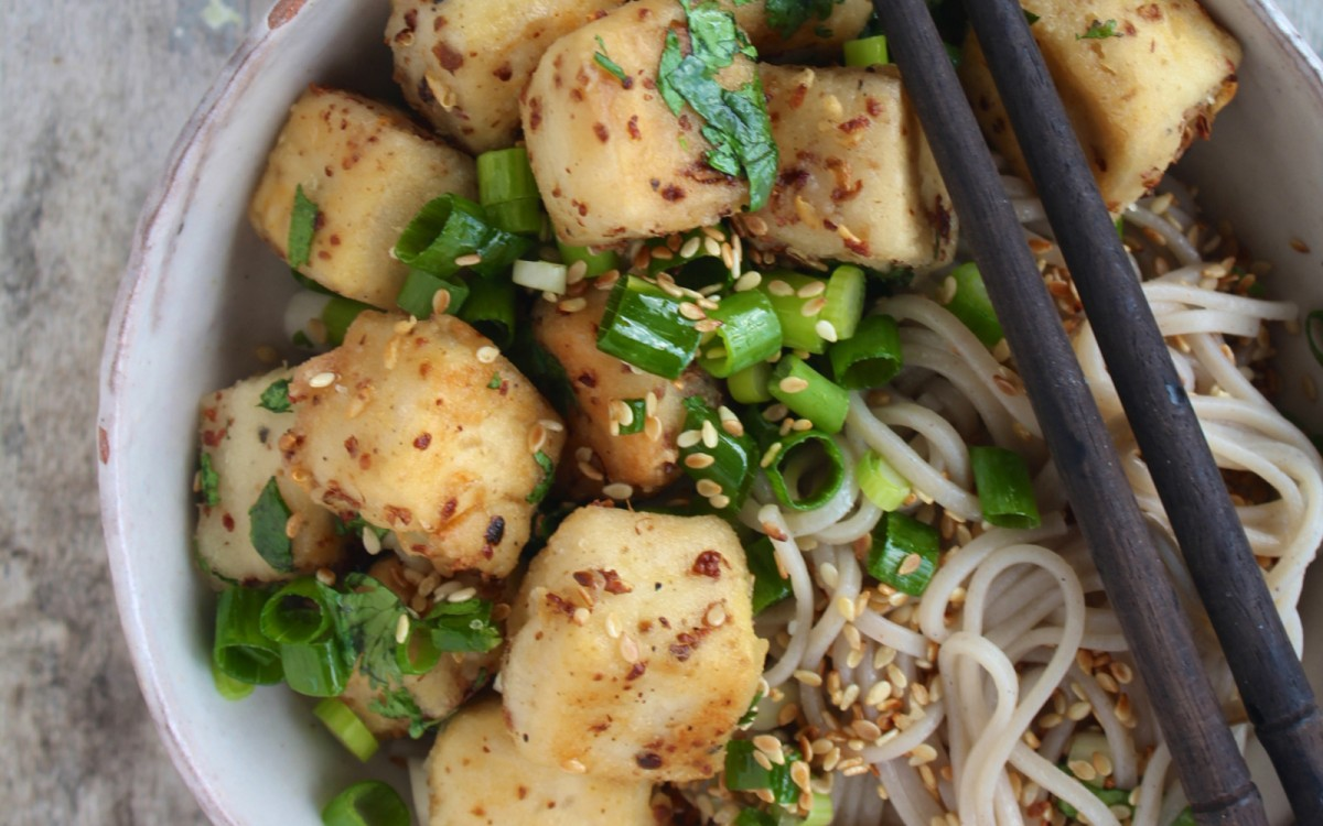 Szechuan tofu with soba