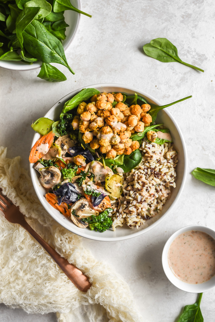 Veggie Grain Bowls With Crispy Parm Roasted Chickpeas and Spicy dairy-free Ranch