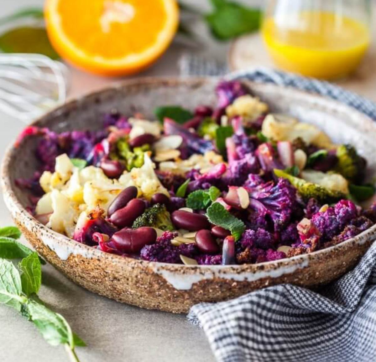 Glucosinolate-Rich Winter Purple cauliflower salad