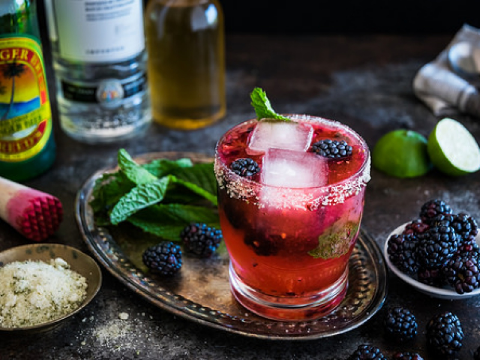 Vegan Blackberry Vanilla Tequila Mojito