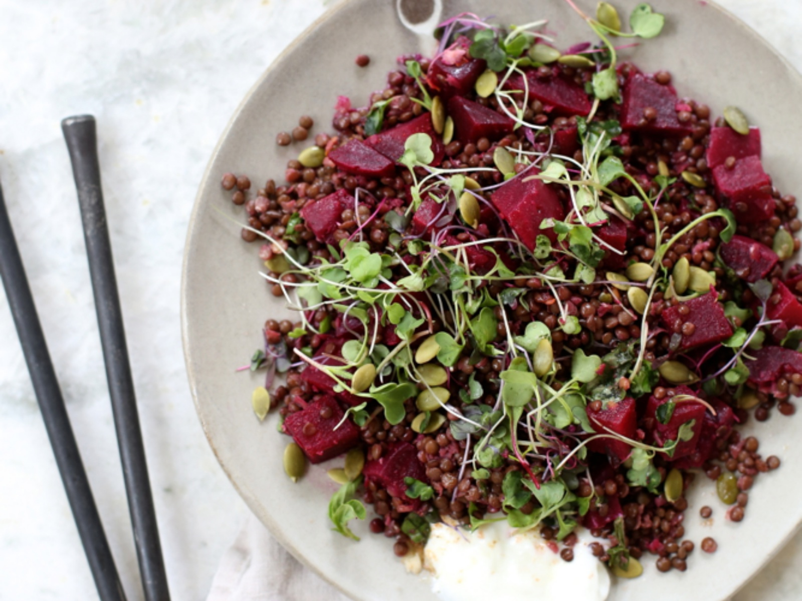 Spring Beluga Lentil And Beet Salad With Coriander Vinaigrette Vegan One Green Planet