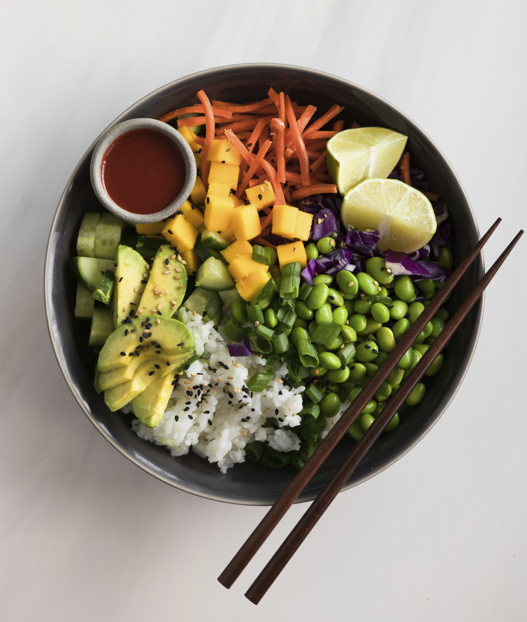 Deconstructed Sushi Bowl with Spicy Sriracha Dressing