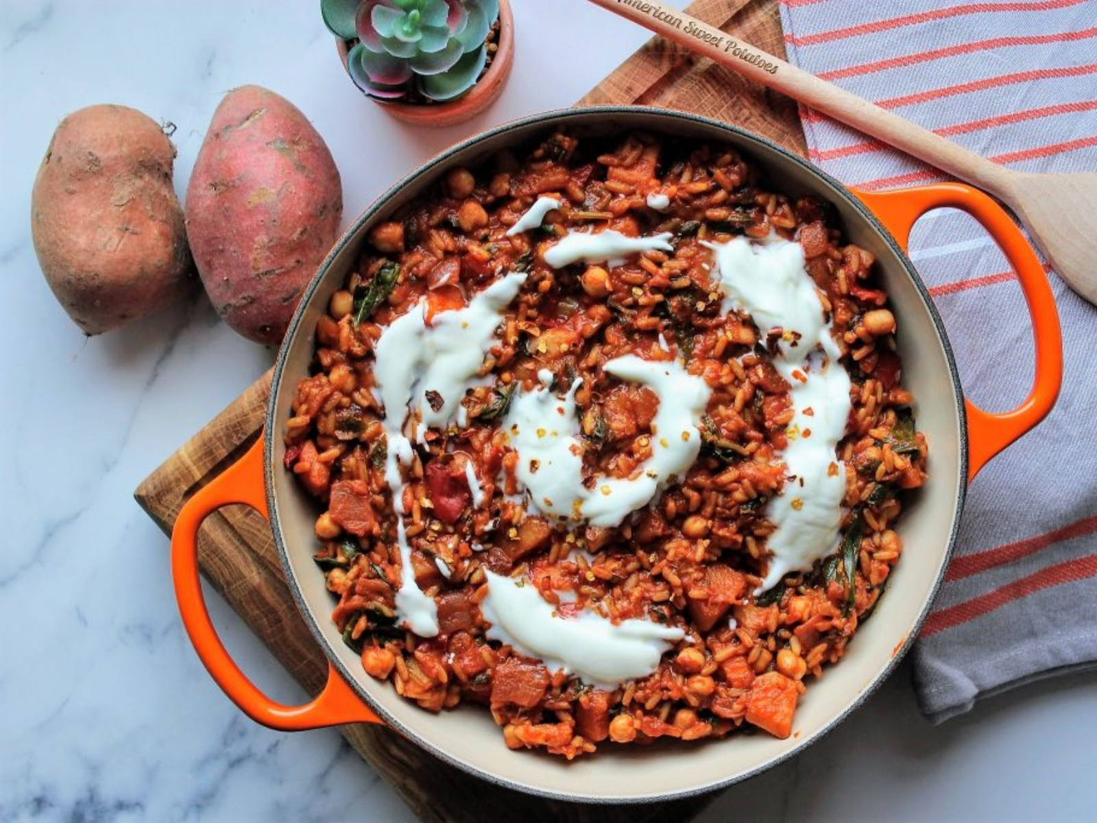 Vegan sweet potato veggie biryani high in potassium