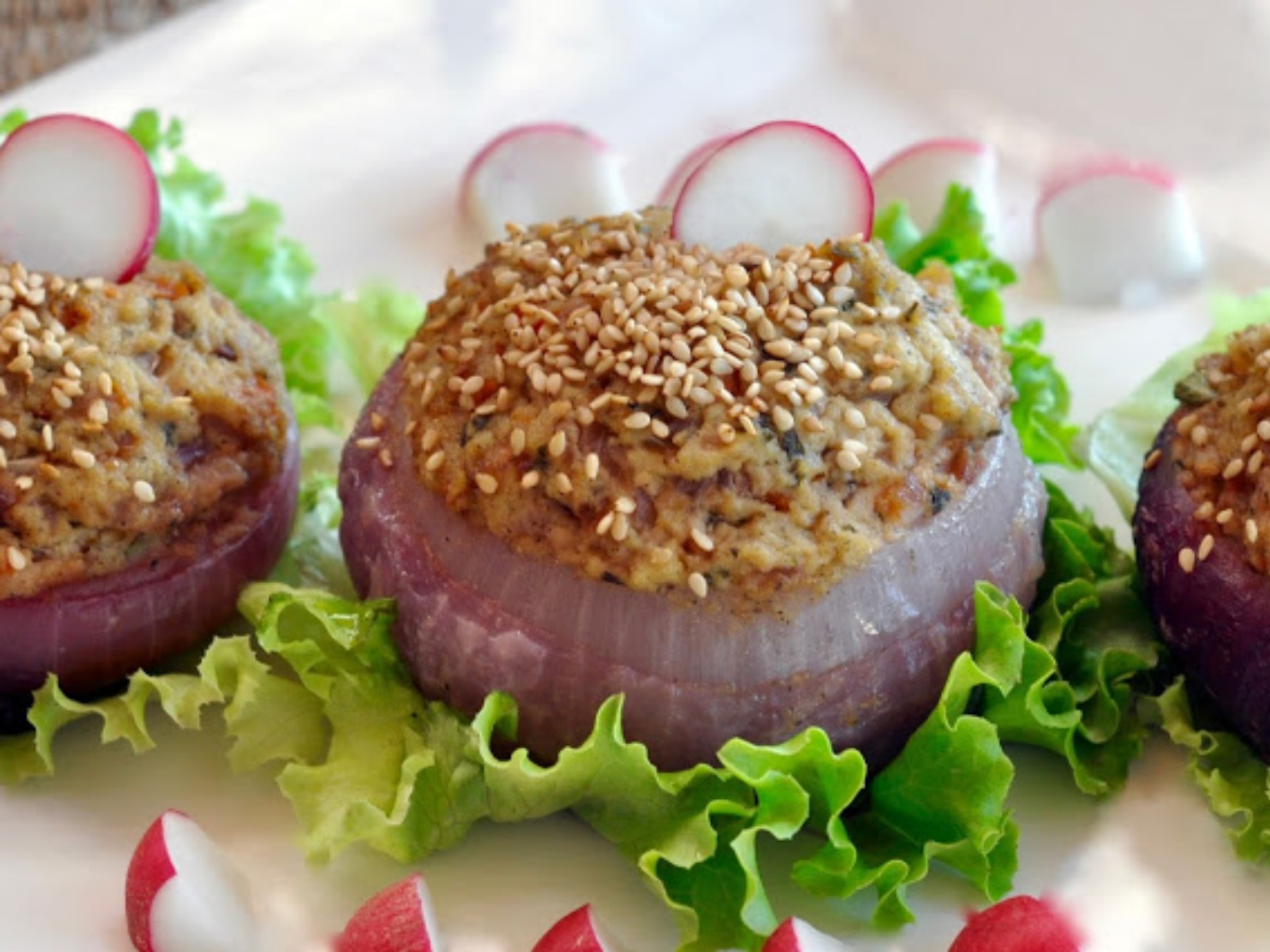 Red Onion Stuffed With Cheese and Vegetables