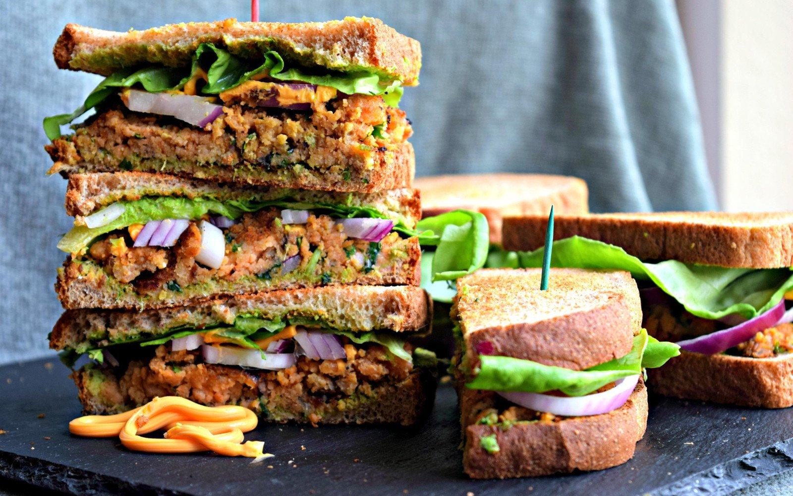 Cabbage and Mushroom Rye Bread Sandwich
