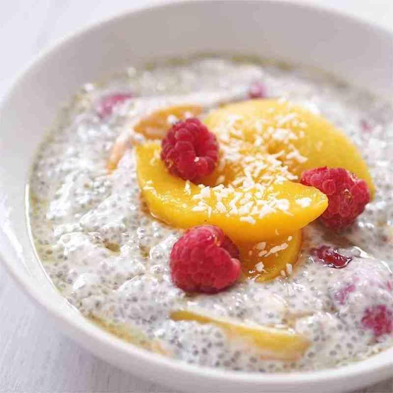 Peach, Raspberry and Coconut Yogurt Chia Pudding