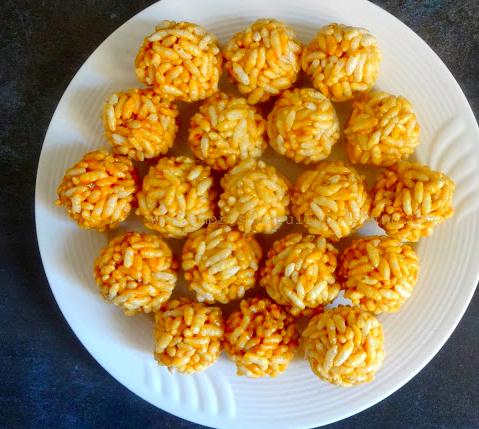 Vegan Murmura Laddoo (Puffed Rice and Jaggery Balls)