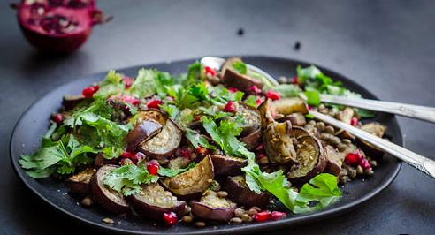 Grilled Eggplant Salad With Lentils and Sesame Yogurt
