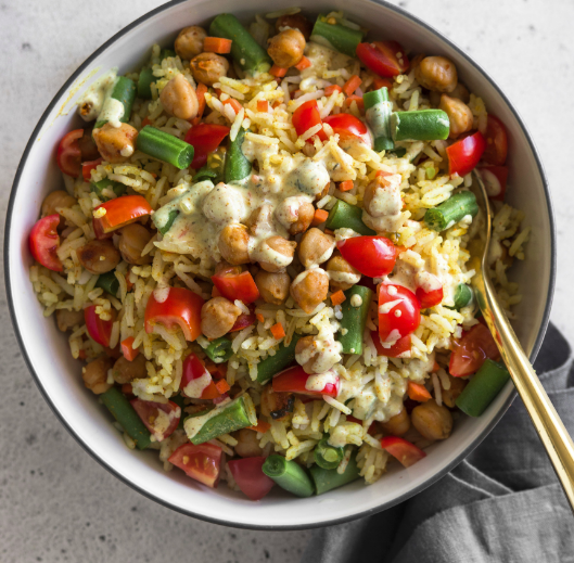 Vegetable Pilaf Bowl with Creamy Turmeric Dressing