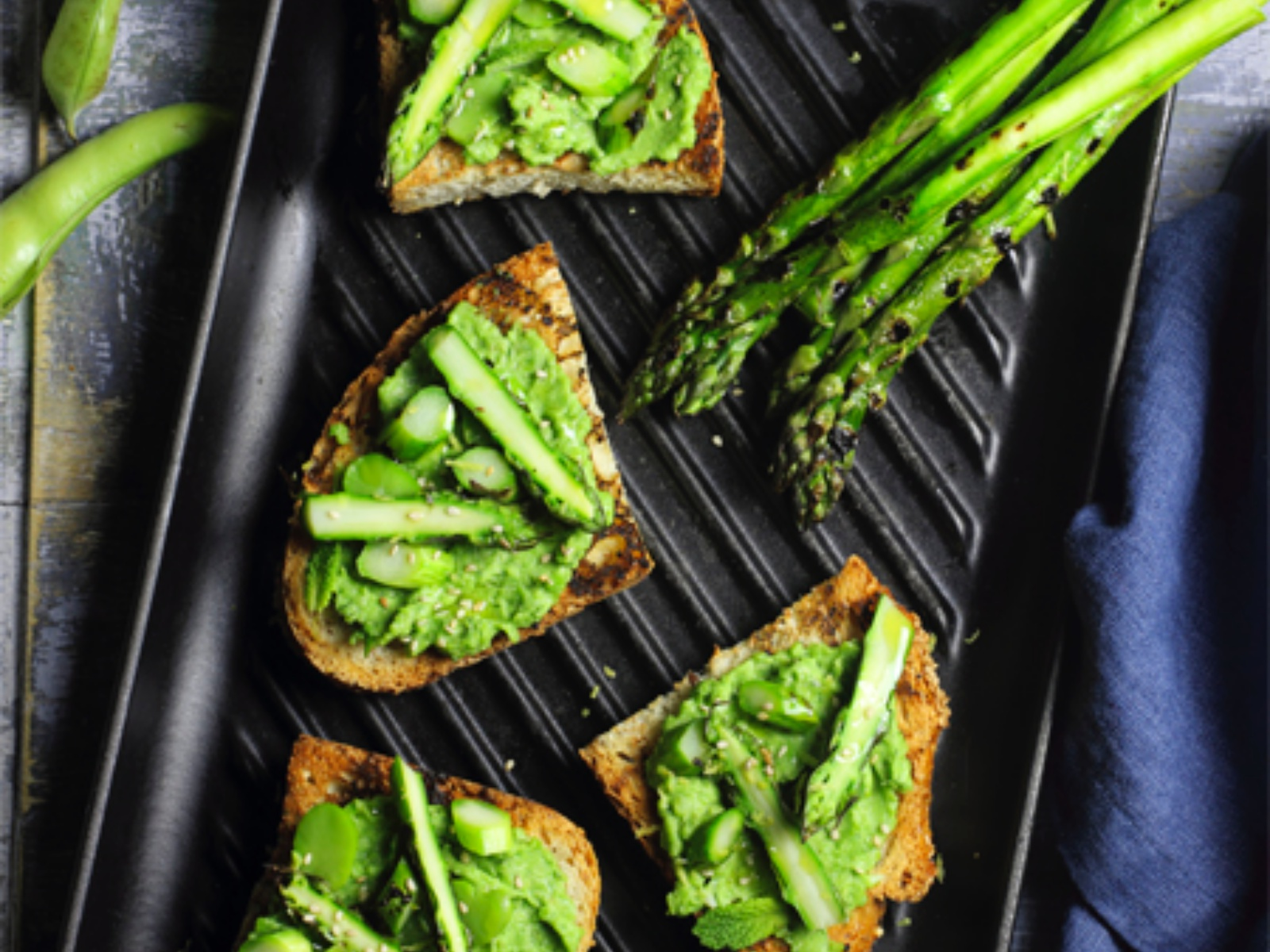 Grilled Asparagus on Toast With Broad Bean Pesto