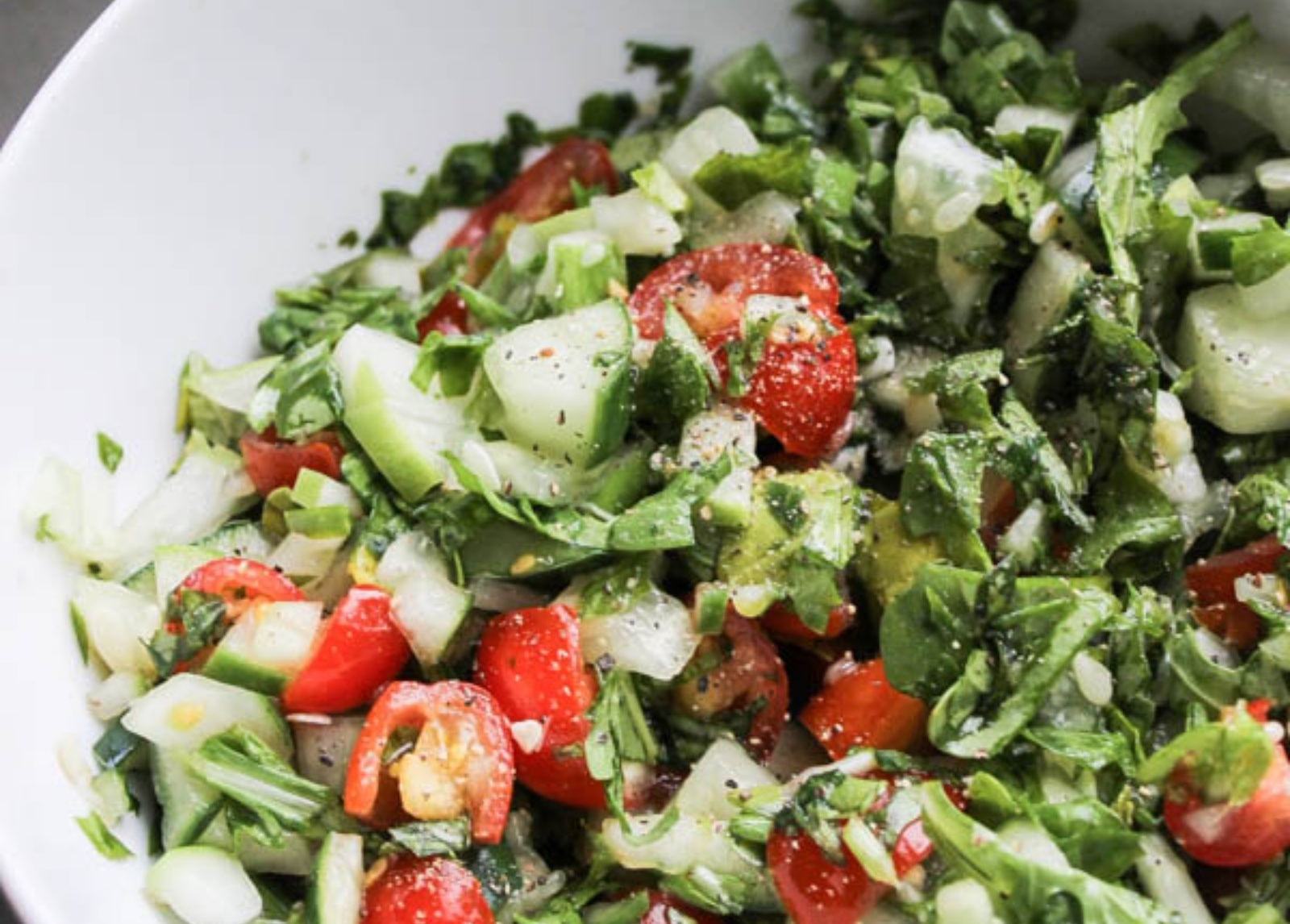 Cucumber Tomato Salad with Creamy Garlic Dressing