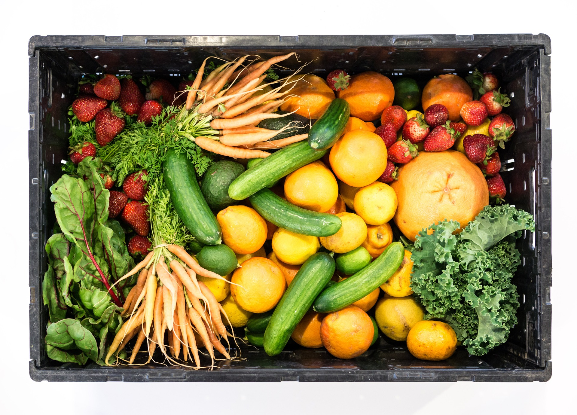 Crate full of fruits and vegetables