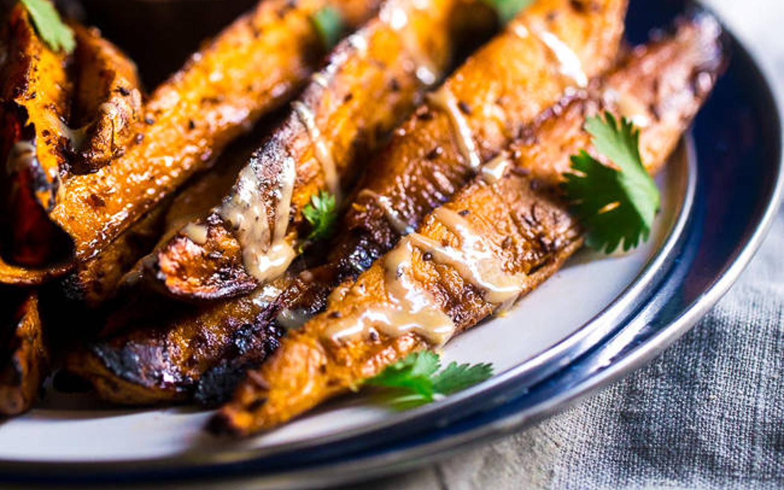 Maple recipes; grilled maple tahini sweet potatoes