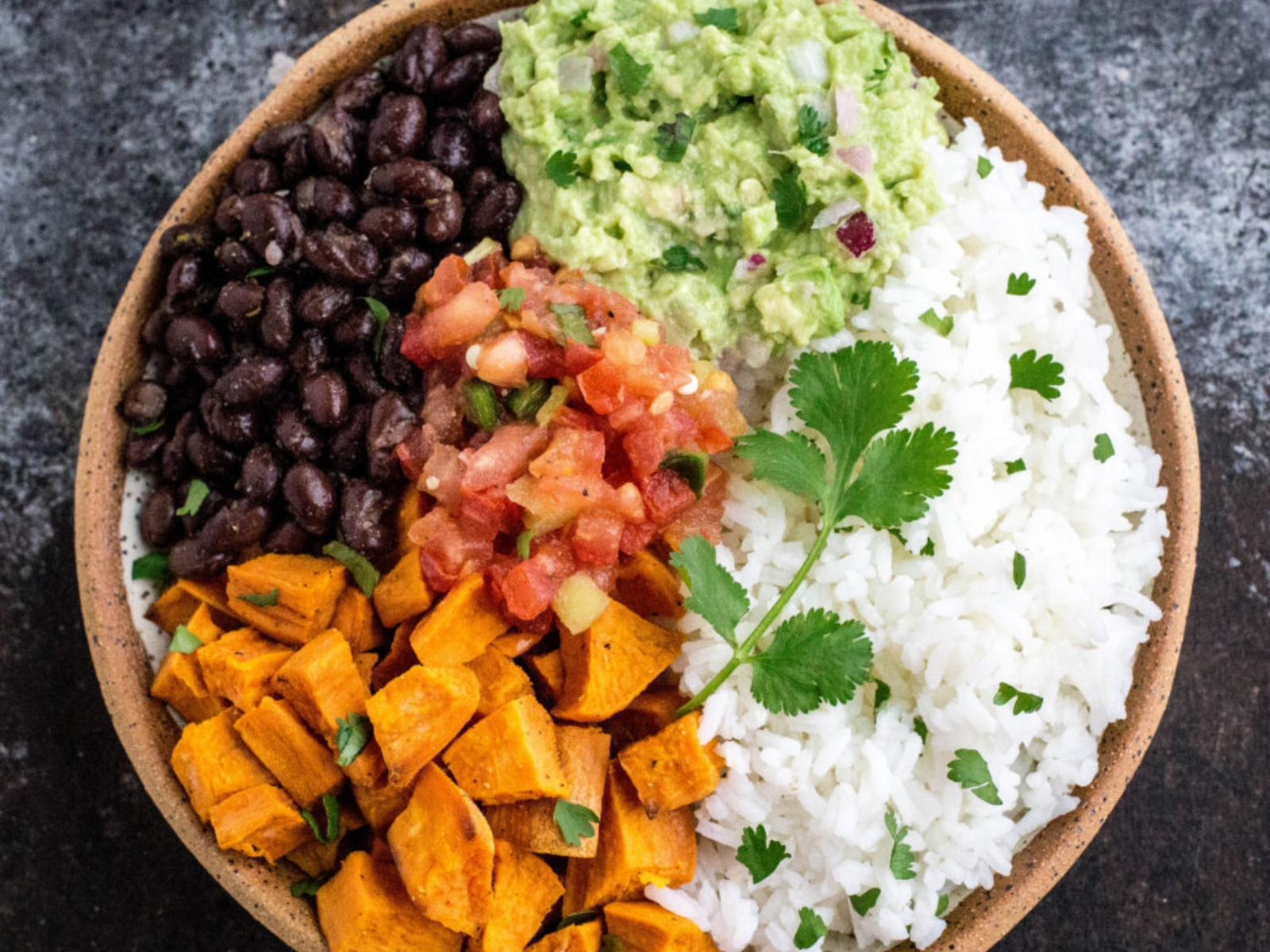 sweet potato and black bean burrito bowl