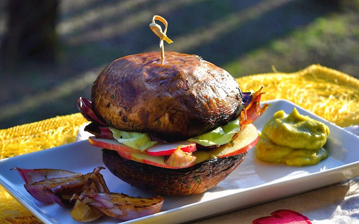 raw portobello mushrooms and shallot burger