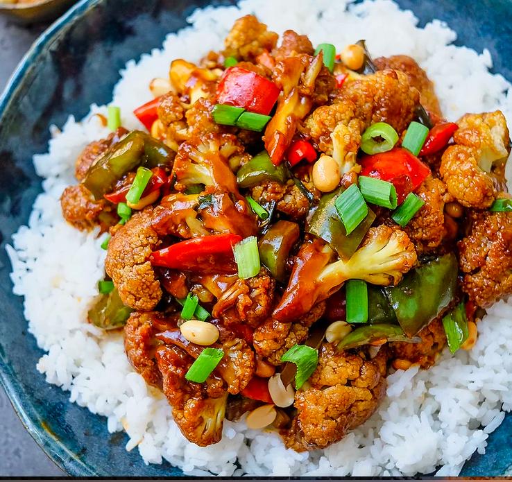 Vegan Kung Pao style cauliflower
