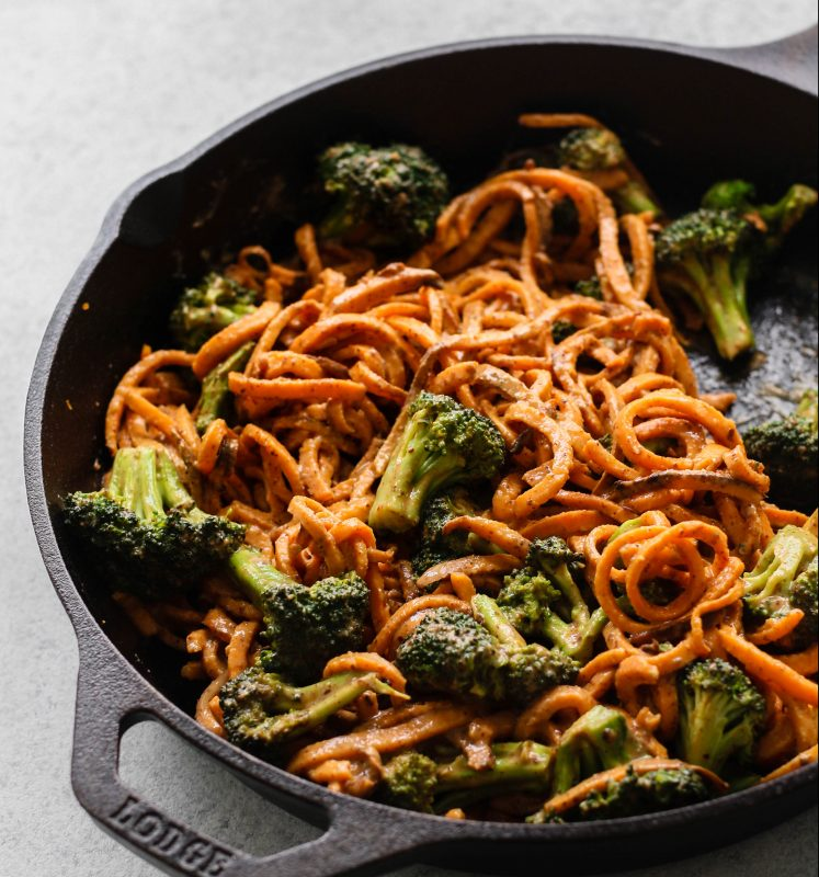 Spicy Almond Butter Sweet Potato Noodle Bowls