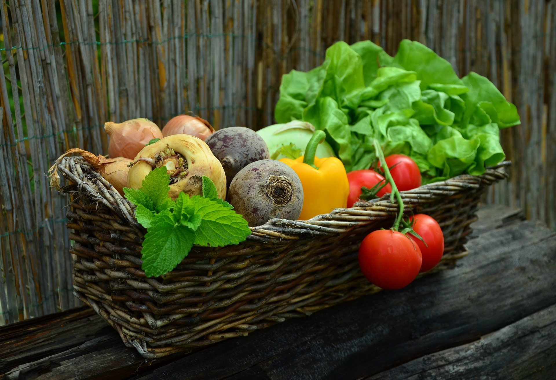 Basket of fruits and veggies
