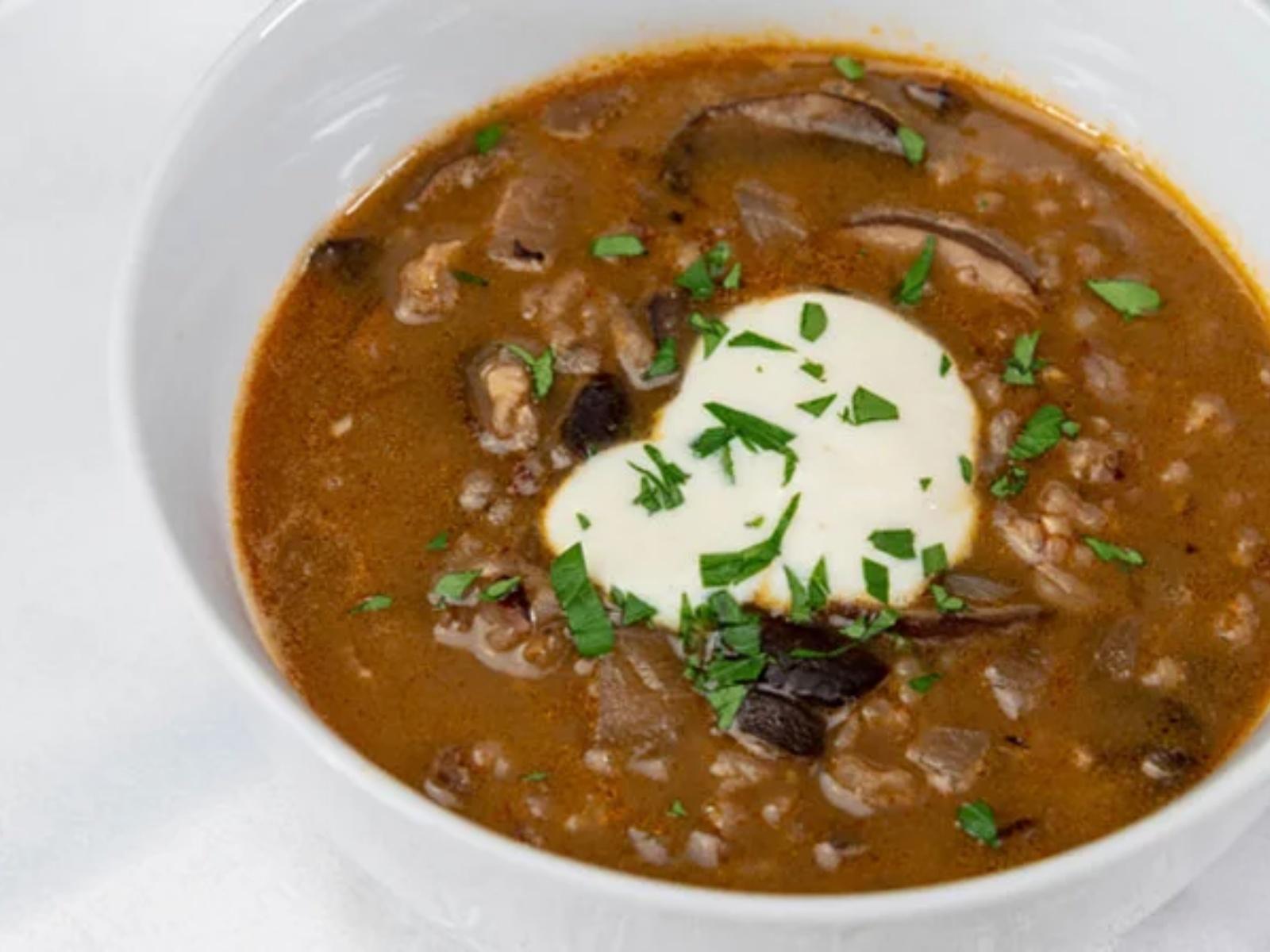 Vegan Wild Rice and Mushroom Soup