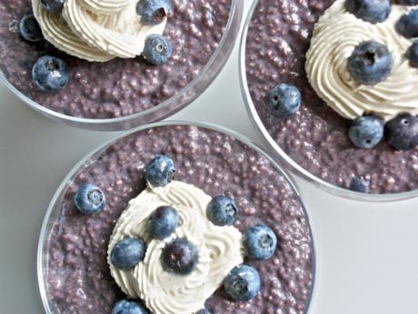 Decadent vegan blueberry chia pudding
