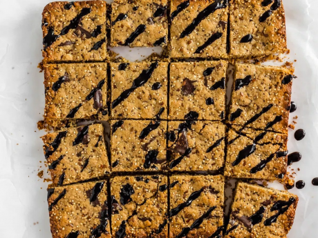vegan Protein packed chocolate chunk nut butter blondies